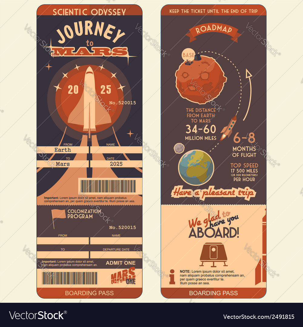 Journey to mars boarding pass vector