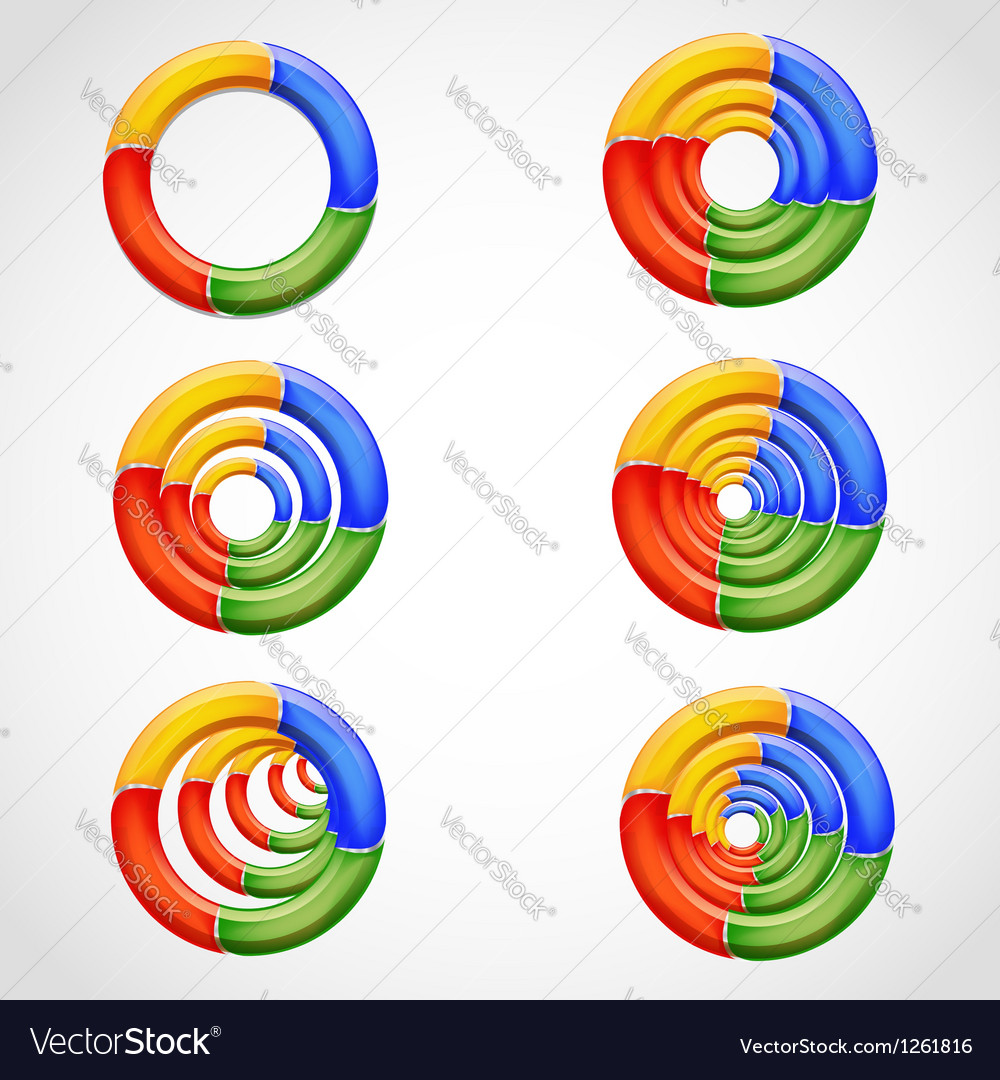 Geometric 3d multicolored ring shapes vector