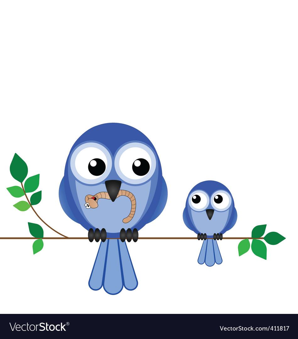 Bird mum baby vector