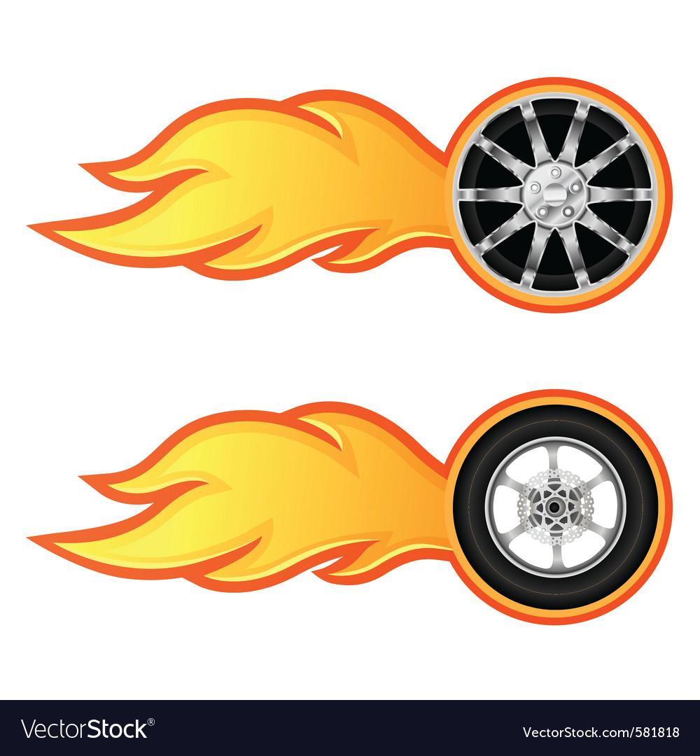 Car and motorcycle wheel vector