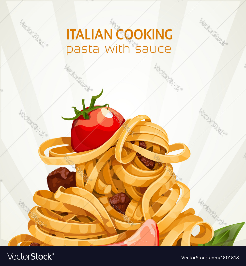 Italian cooking pasta with sauce banner vector