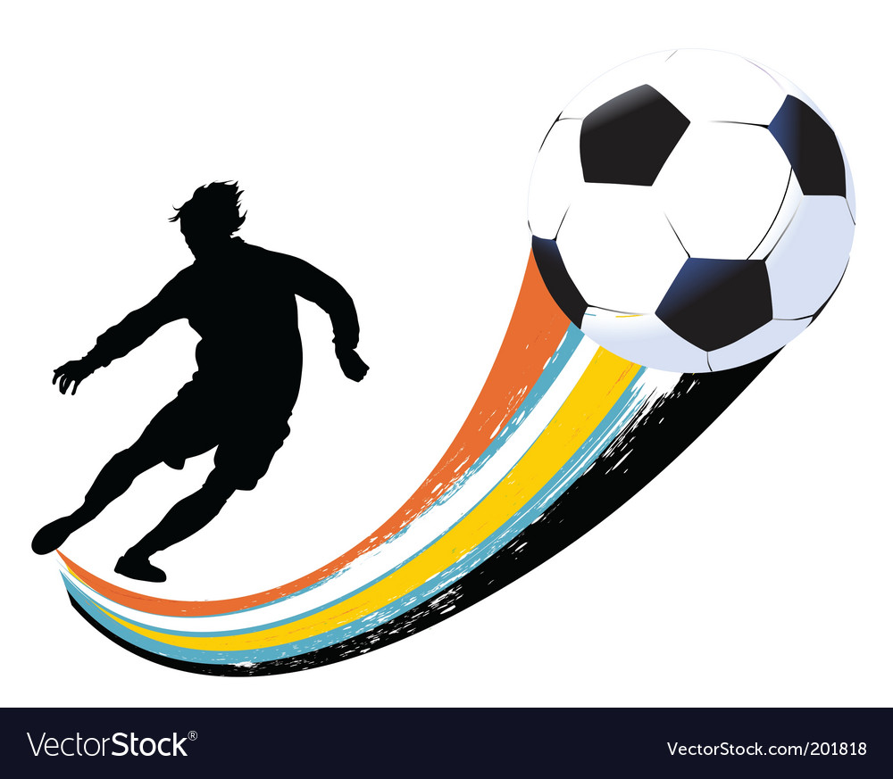 Soccer player and ball vector
