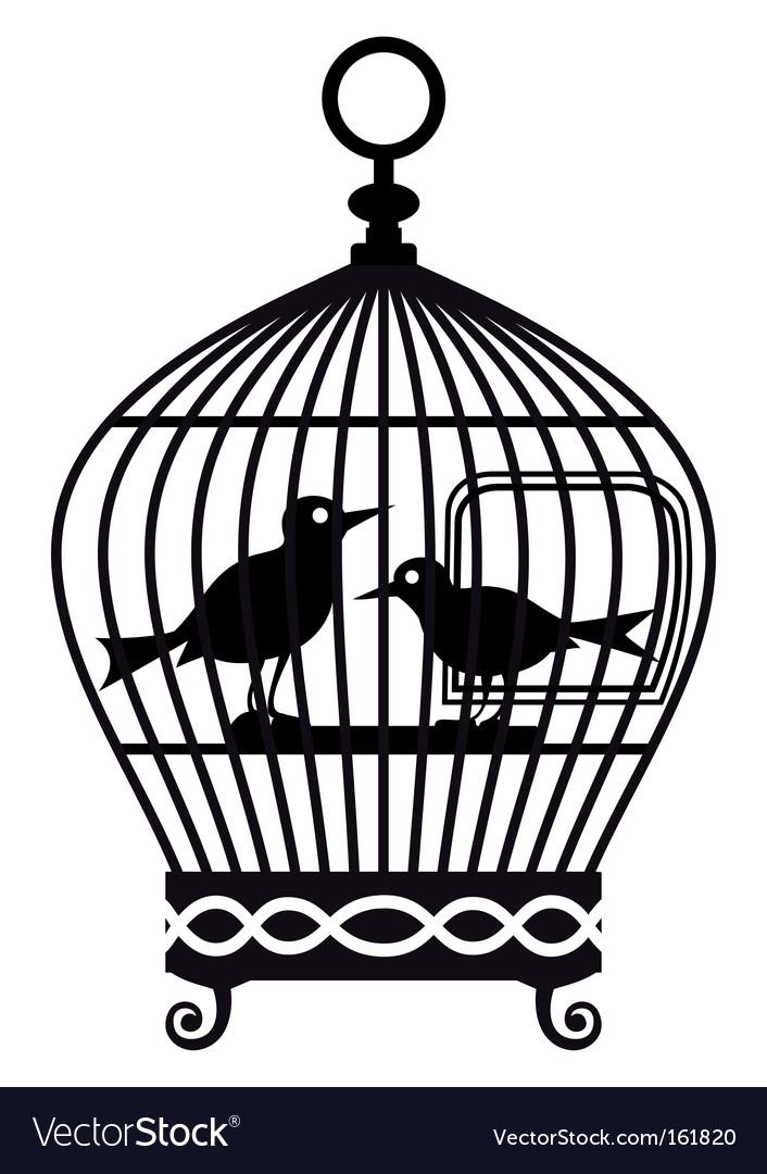 Vintage birdcage graphic vector