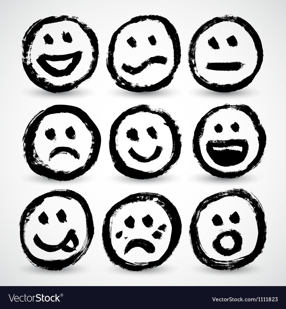 An icon set of grunge cartoon smiley faces vector