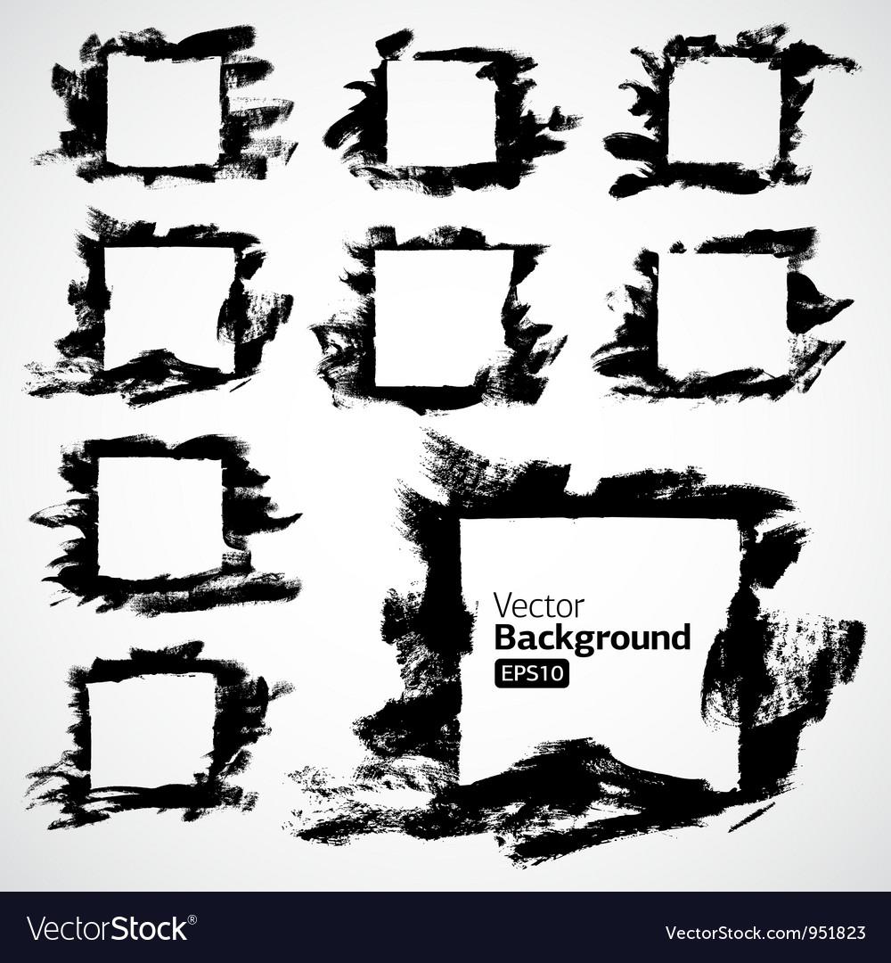Ink grunge hand drawn frame set vector