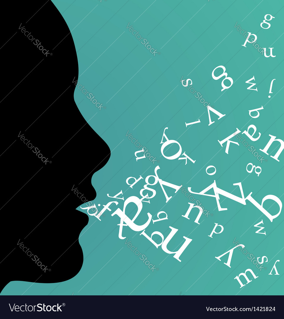Black female profile speaking vector