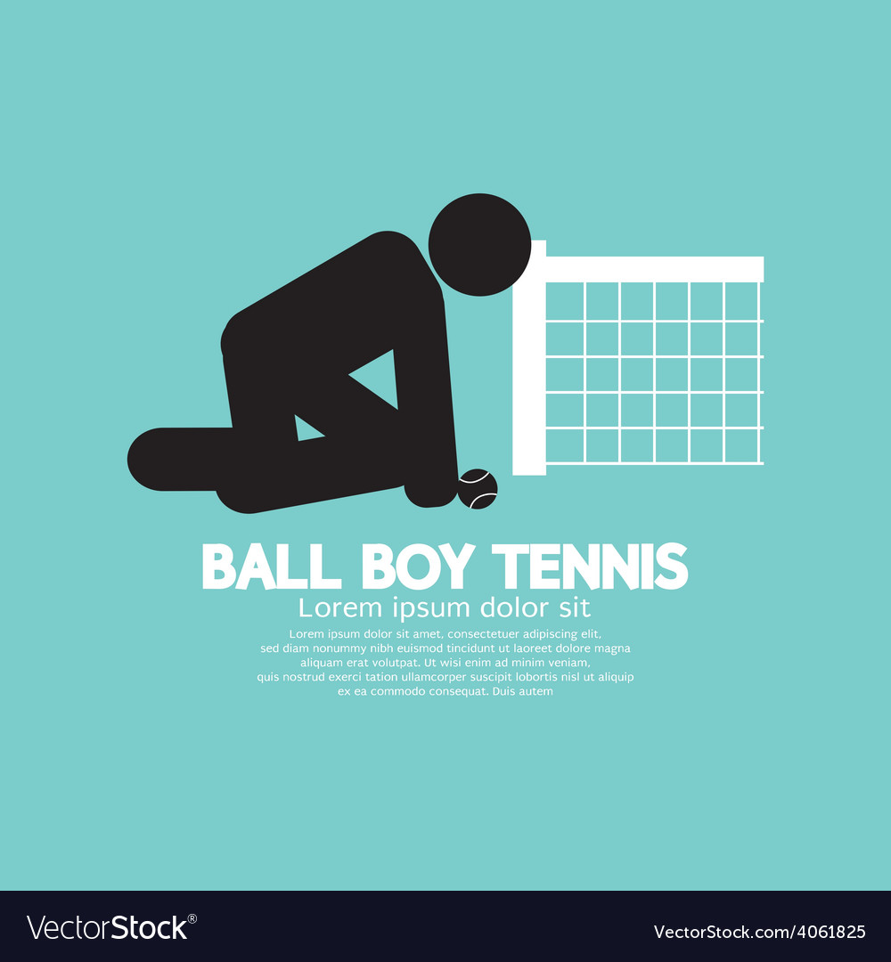 Black symbol ball boy tennis vector