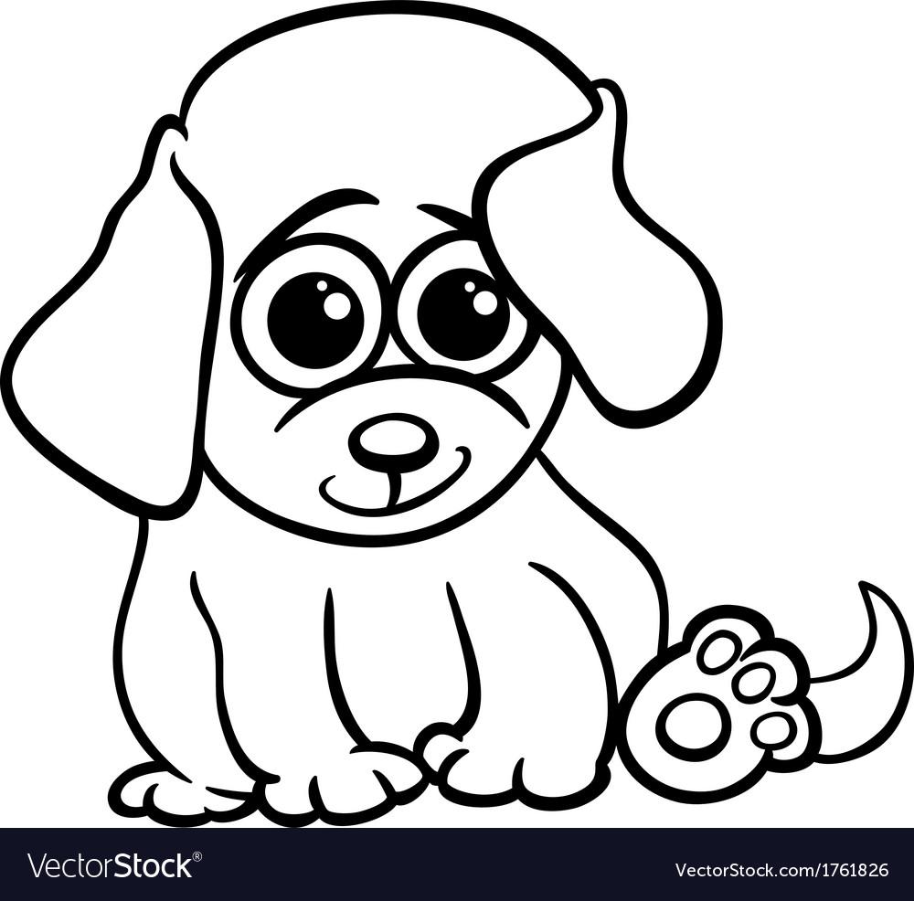 Baby puppy cartoon coloring page vector