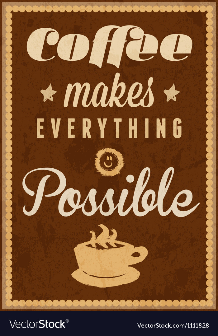 Coffee time - typography vintage background vector