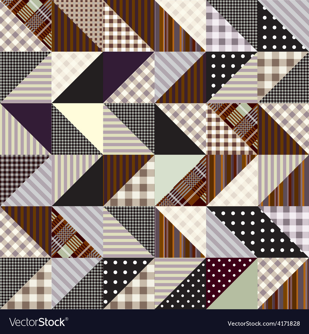 Triangles patchwork pattern vector