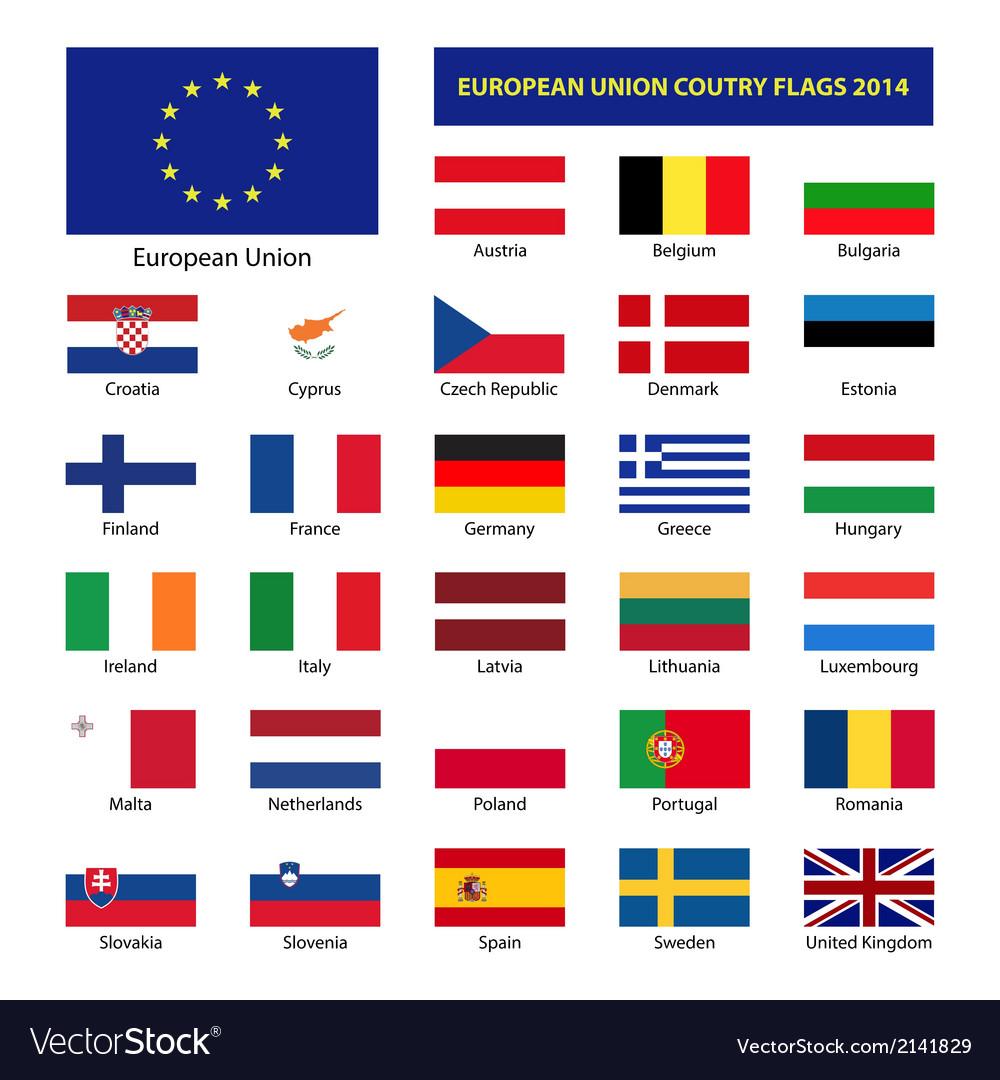 European union country flags 2014 member states eu vector