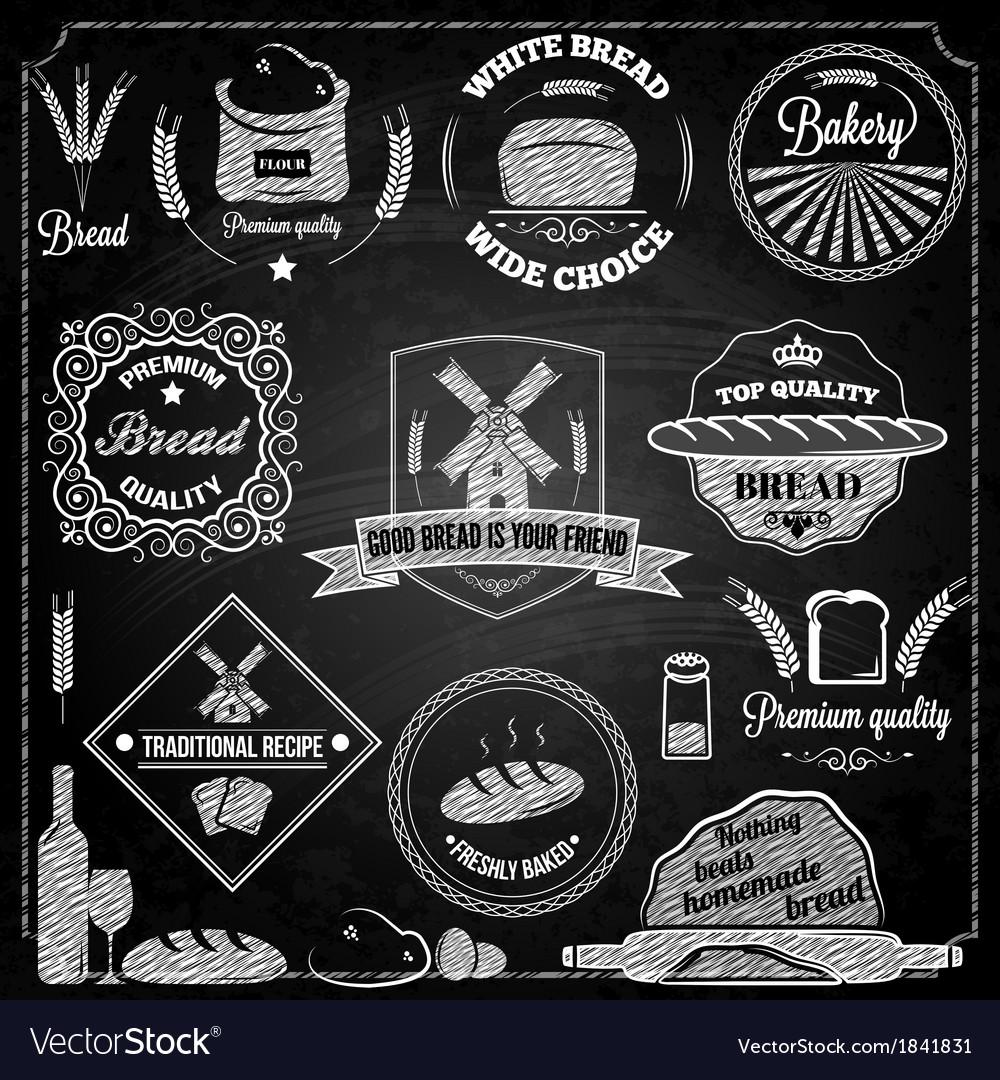 Bread bakery set elements chalkboard vector