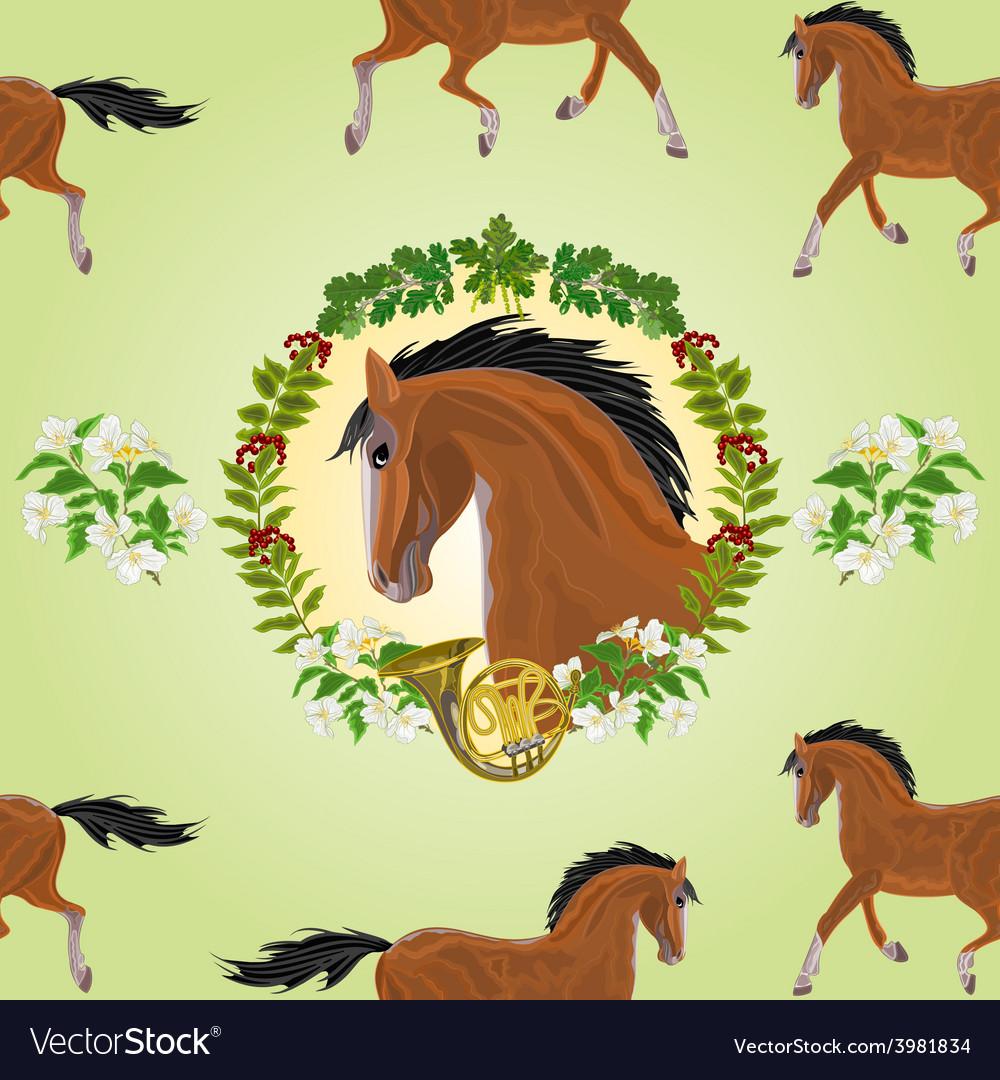 Seamless texture dark horse head of stallion vector