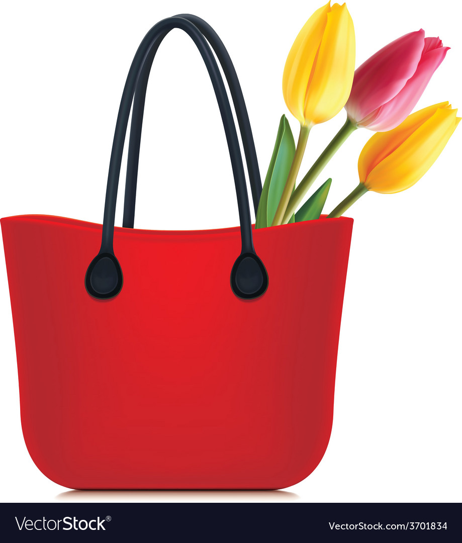 Tulips in shopping bag vector