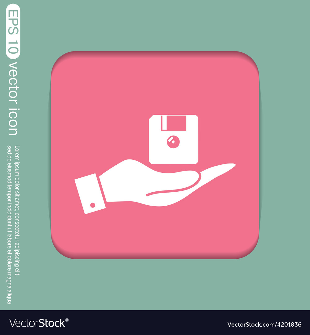 Hand holding a floppy diskette symbol store vector
