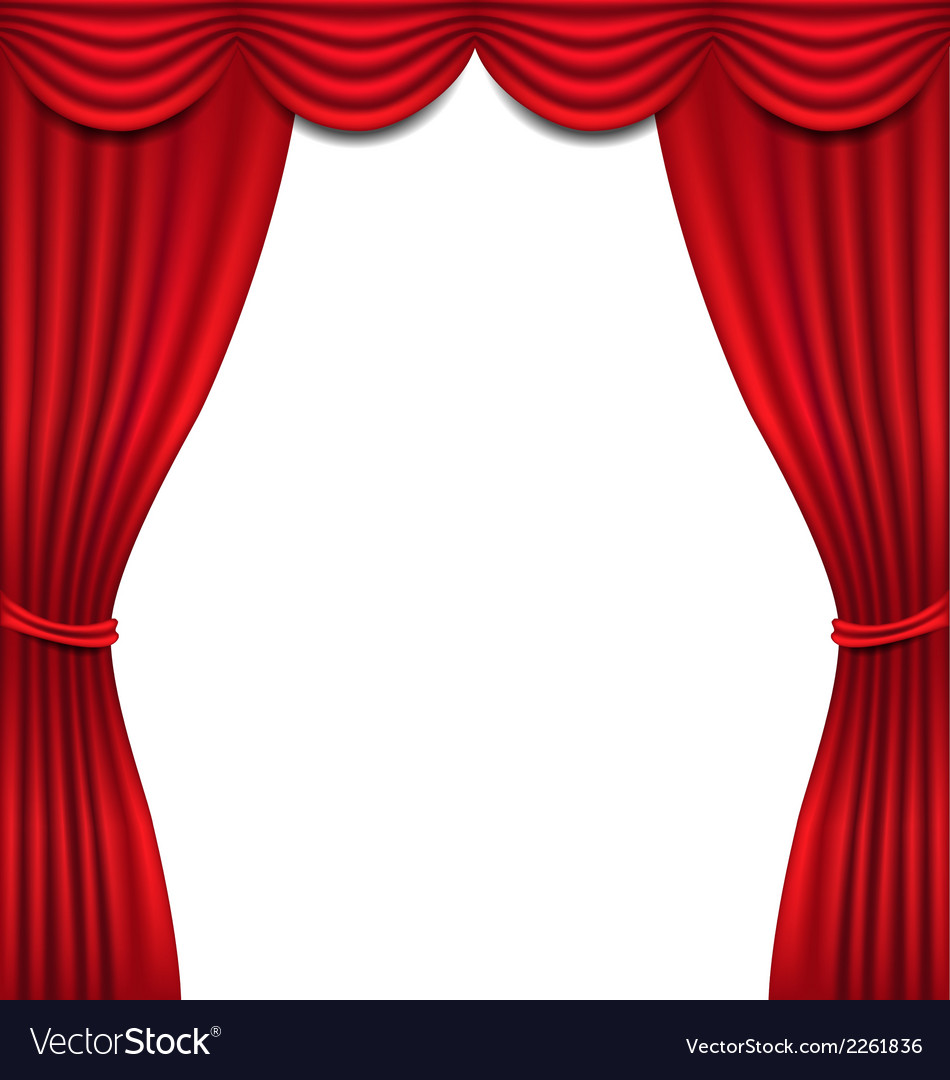 Luxury red curtain on white background vector