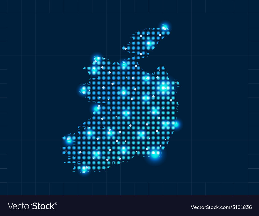 Pixel ireland map with spot lights vector