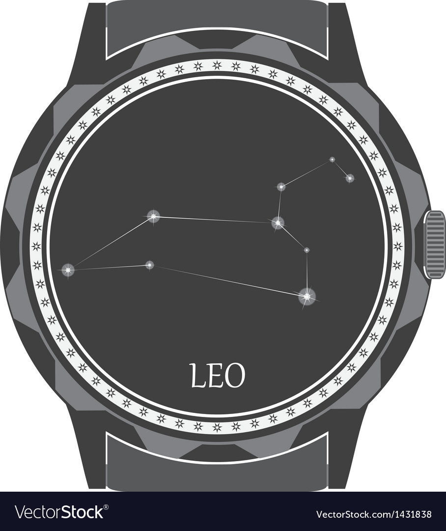 The watch dial with the zodiac sign leo vector