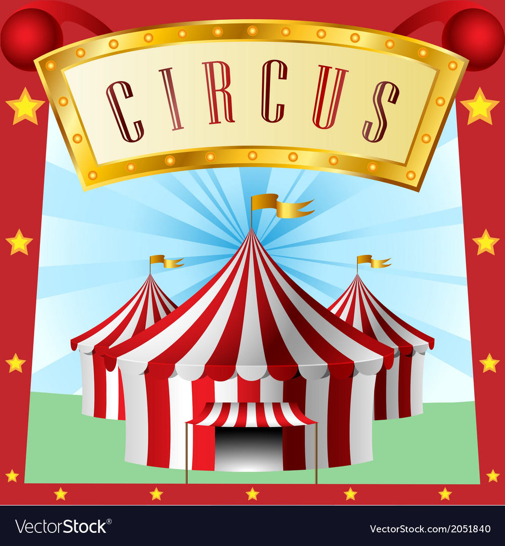 Circus background with tent vector
