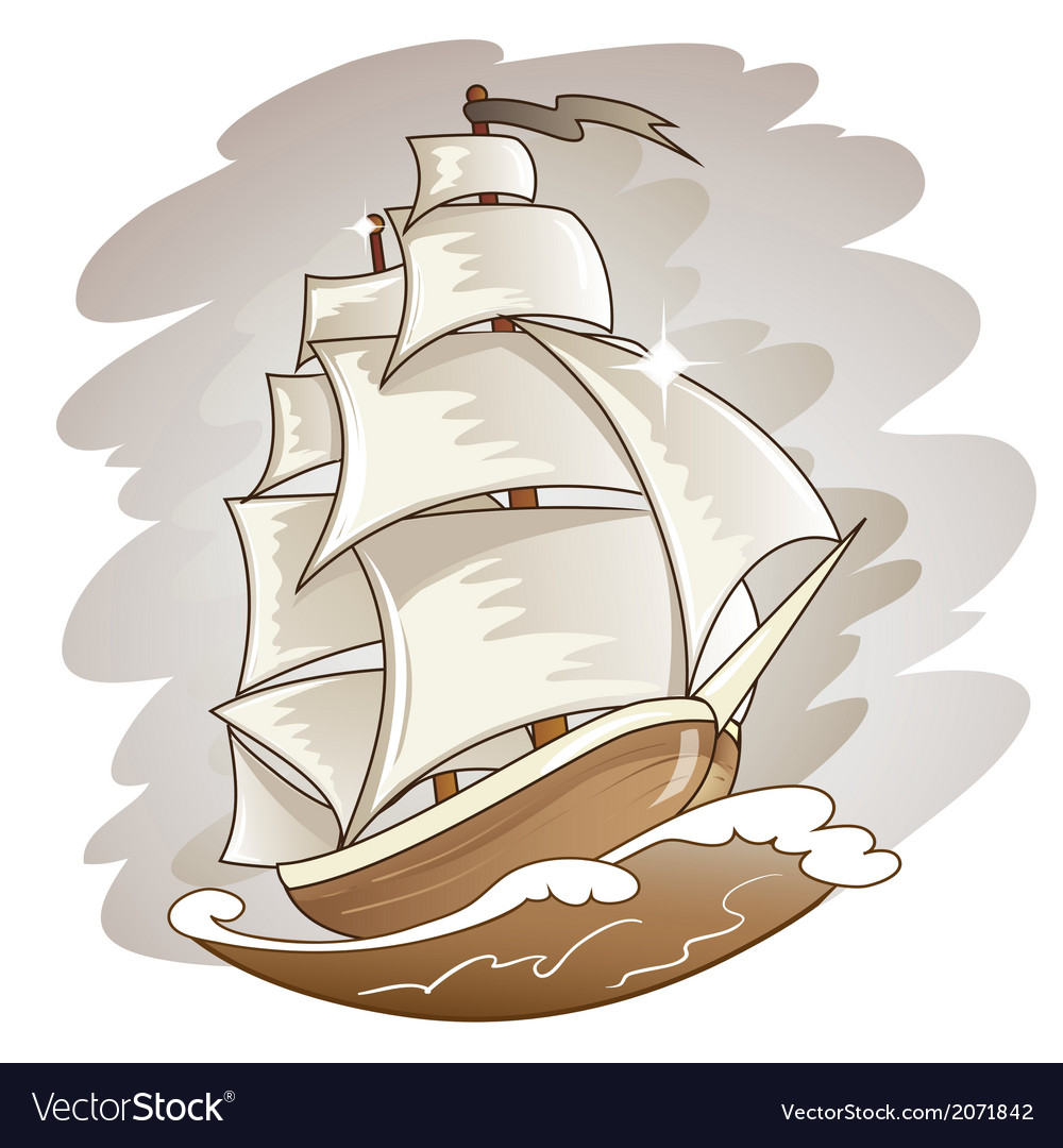 Sailing boat floating on water surface color vector