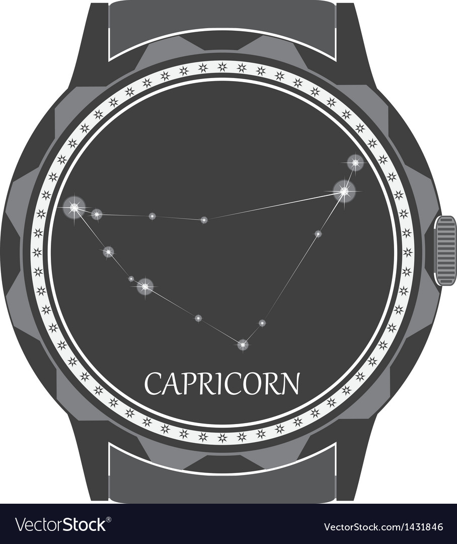The watch dial with the zodiac sign capricorn vector
