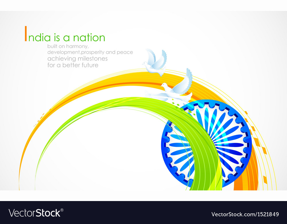 Indian flag tricolor with ashok chakra vector
