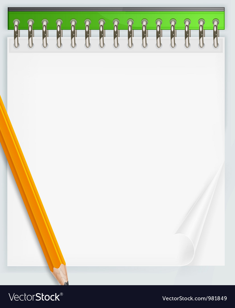 Notepad and pencil vector