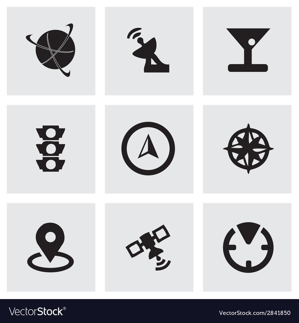 Black navigation icons set vector
