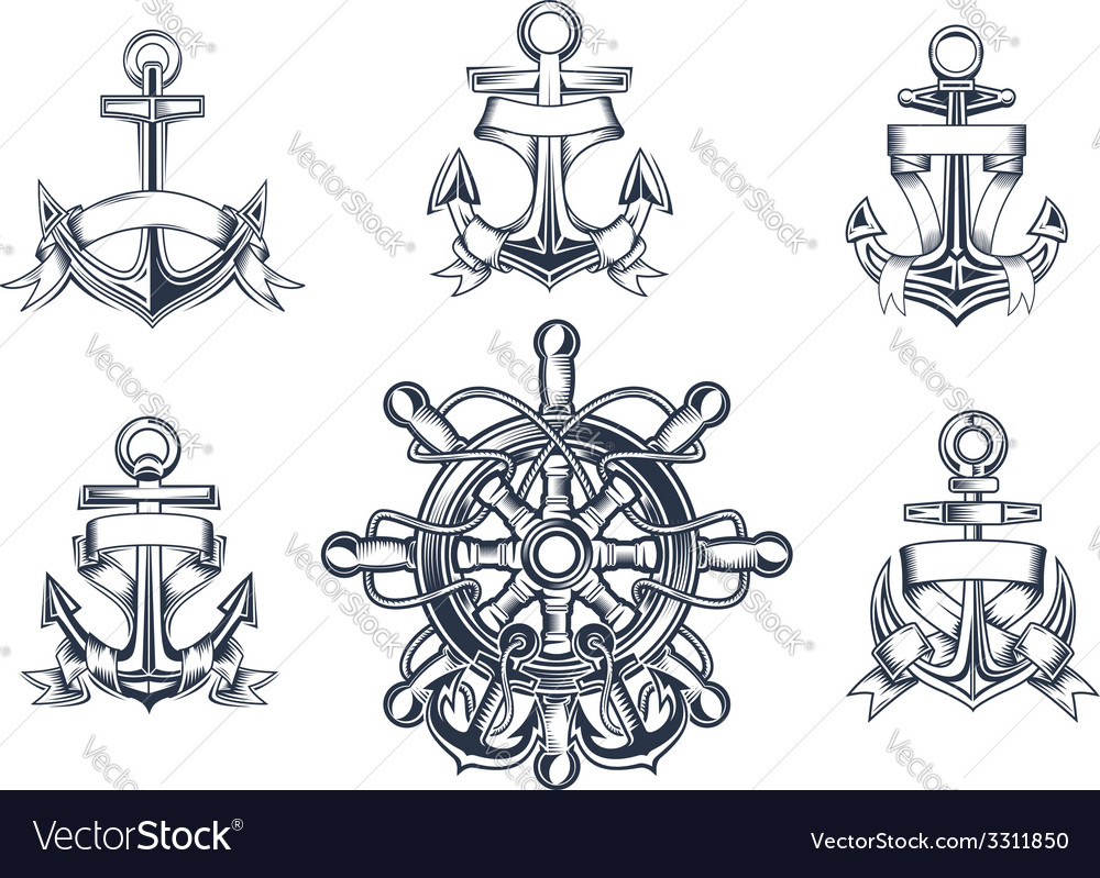 Vintage marine and nautical icons vector