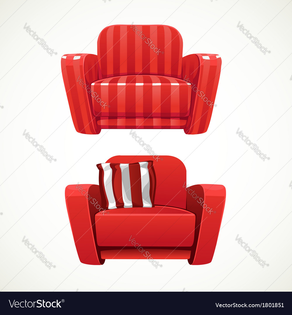 Red soft stripped armchair vector