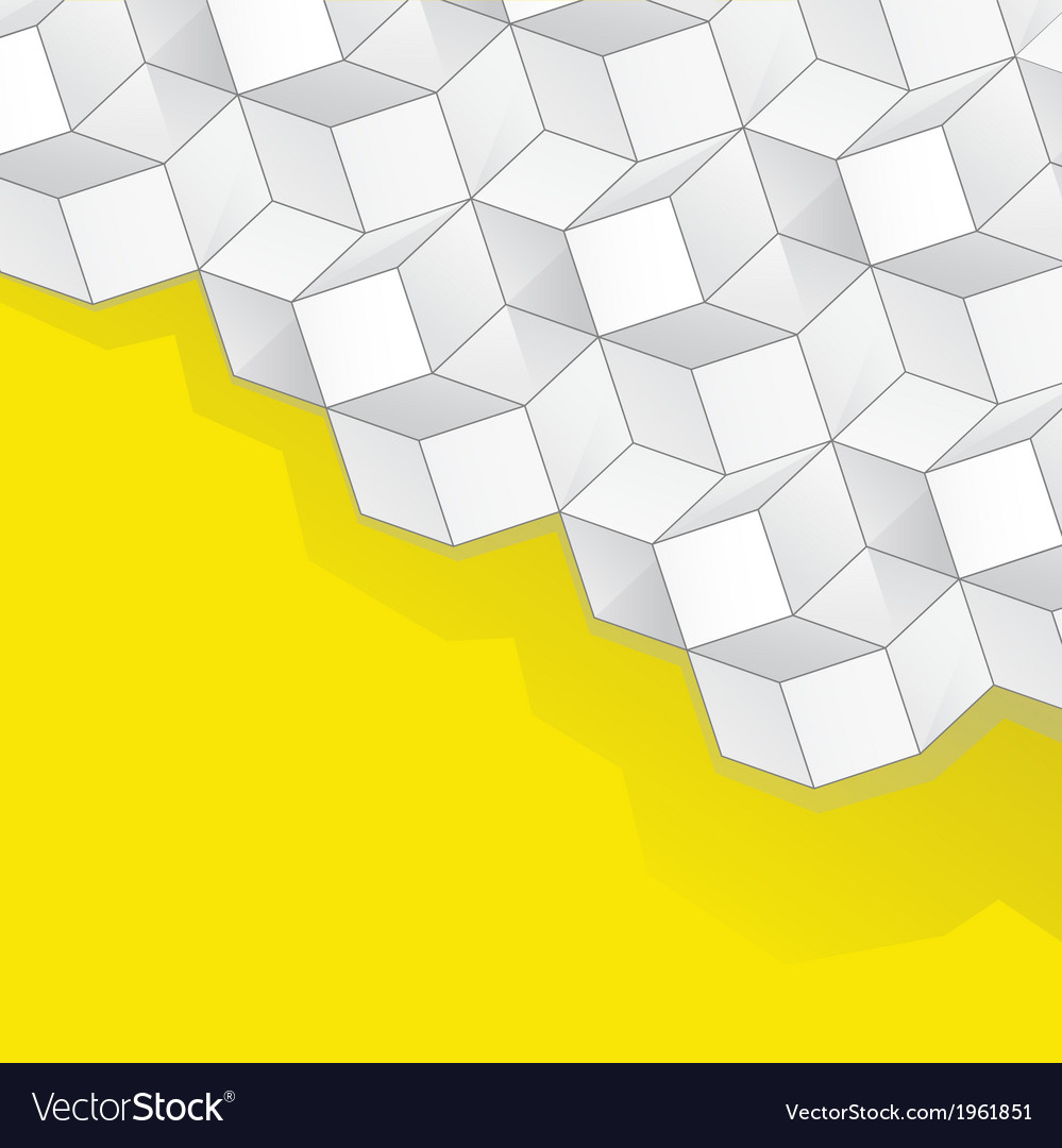 Yellow background with volume cubes vector