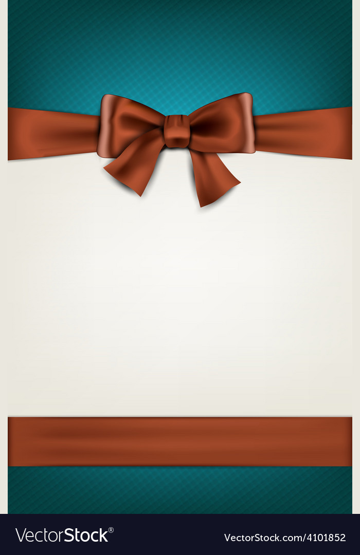 Gift card with brown bow vector