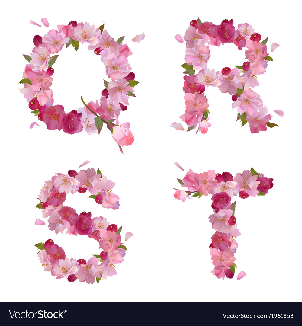 Spring alphabet with cherry flowers qrst vector