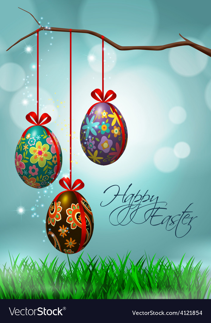 Easter greeting card with hanging eggs vector