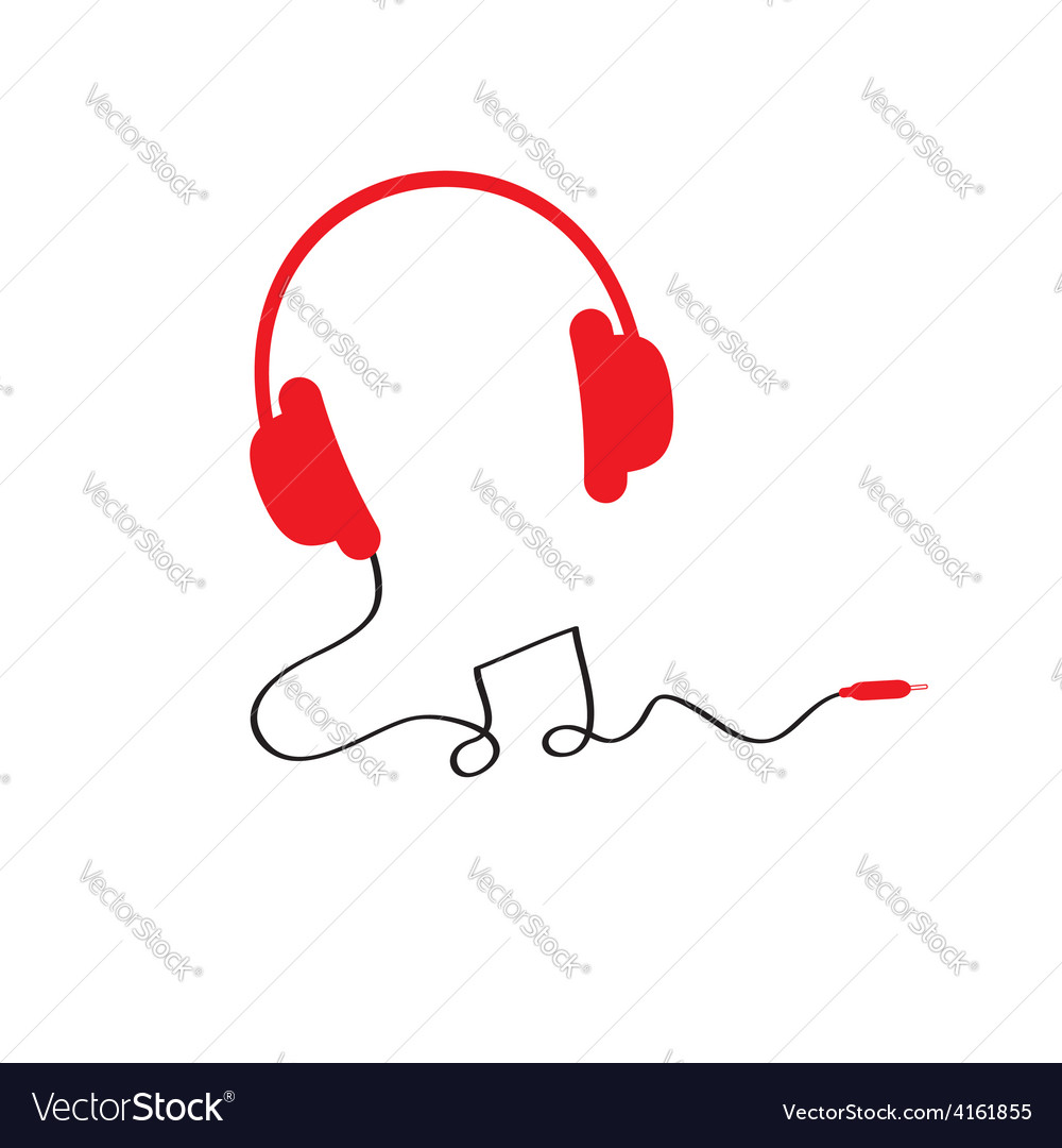 Red headphones icon with black cord in shape of vector