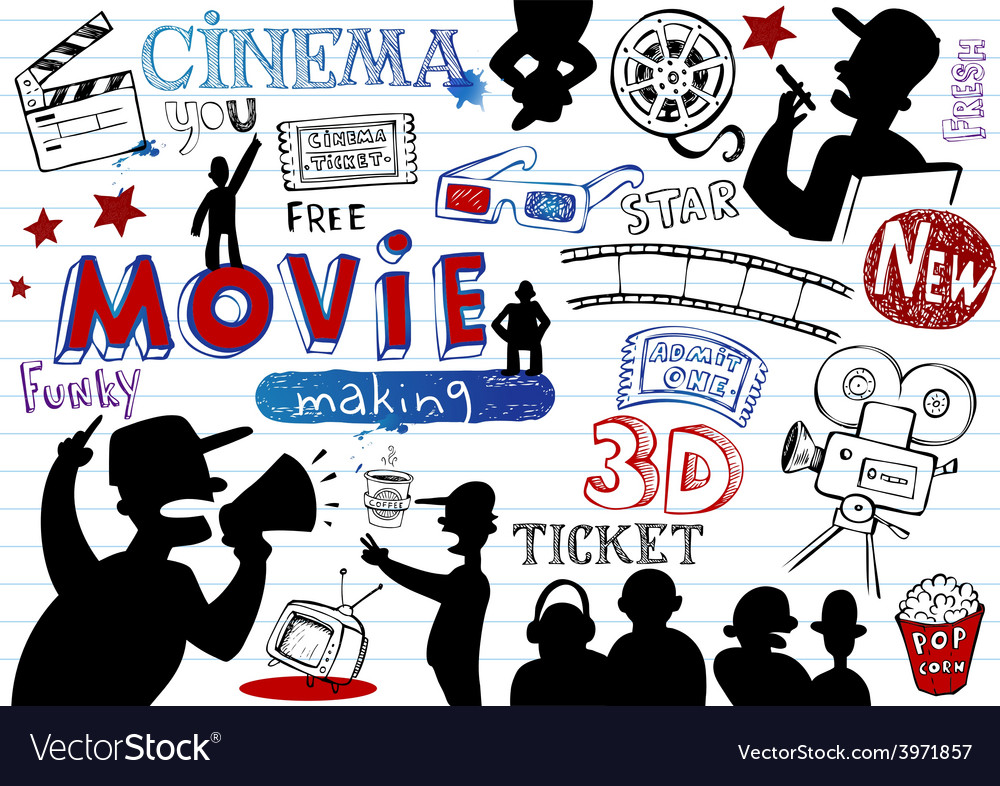 Movie-making doodle set vector
