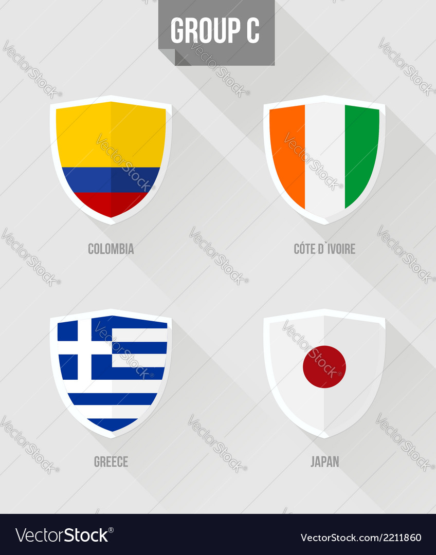 Brazil soccer championship 2014 group c flags vector