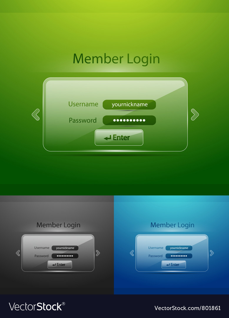 Glass login page vector