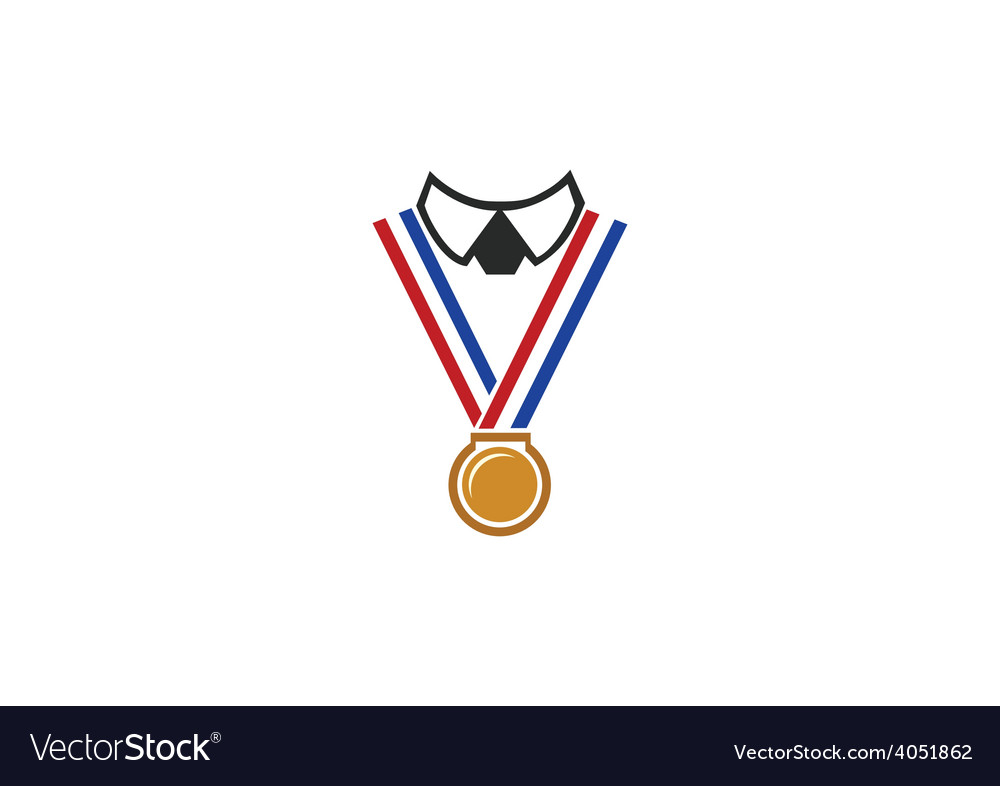Champion winner medal people logo vector