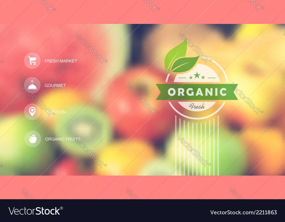 Organic food web interface blurred design vector