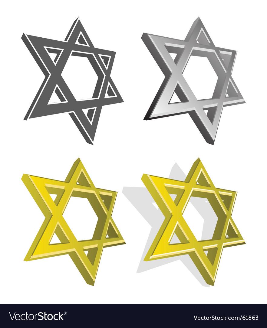 Set of jewish stars vector