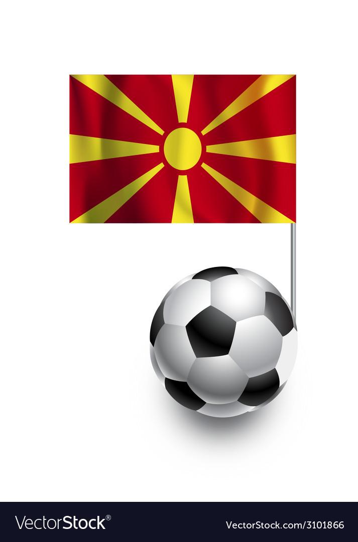 Soccer balls or footballs with flag of macedonia vector