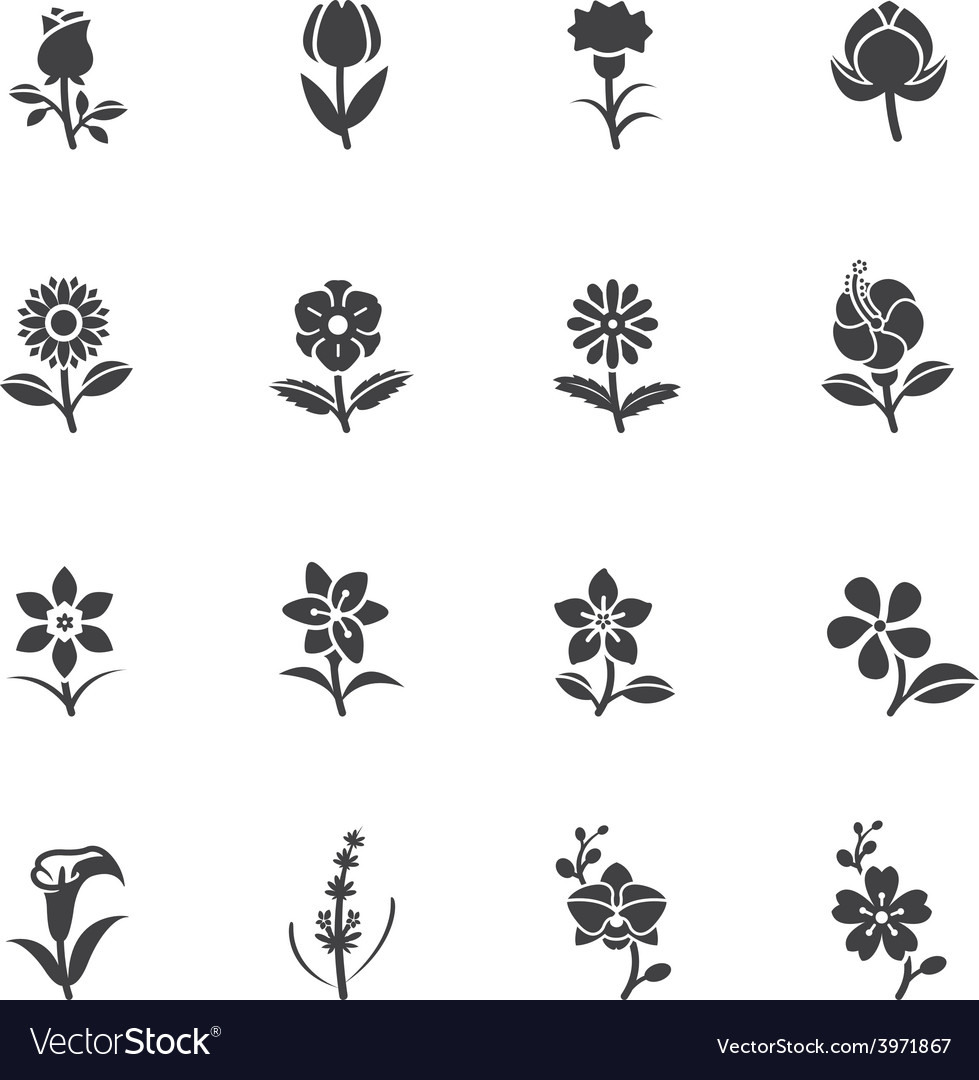 Flower icons for pattern vector