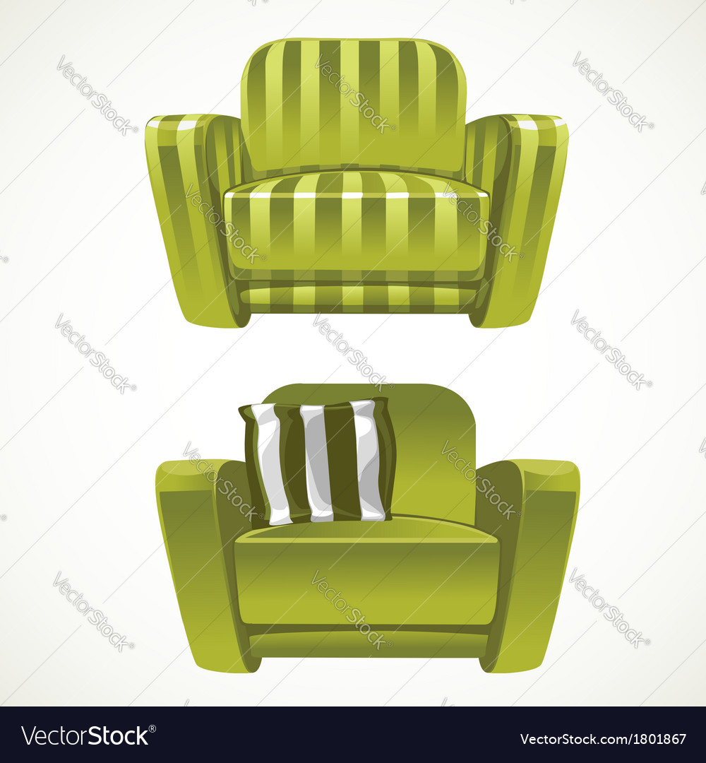 Green soft stripped armchair vector