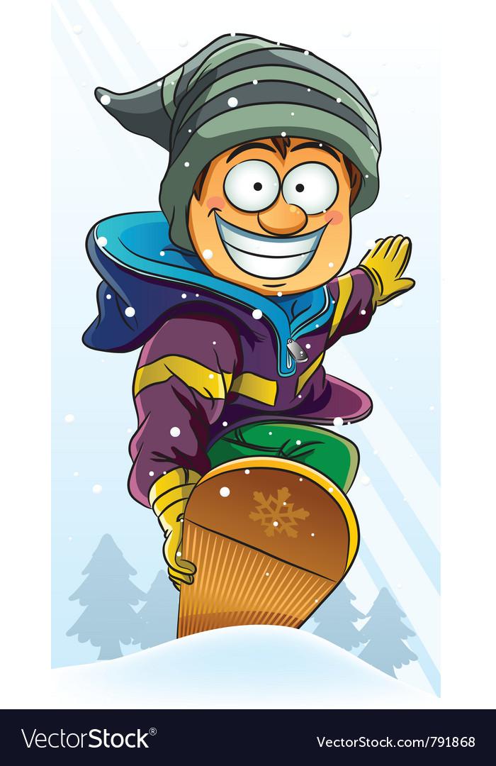 Boy playing snowboard vector