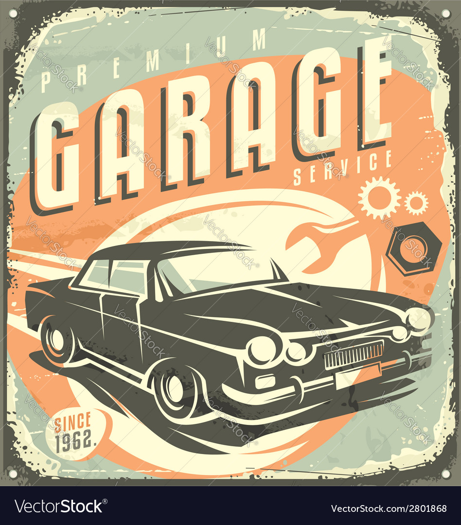 Car service - promotional retro design concept vector