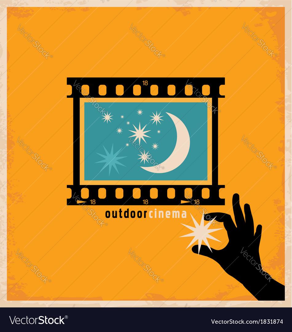 Creative design concept for outdoor cinema vector