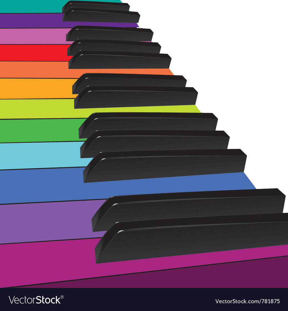 Colorful piano keys vector