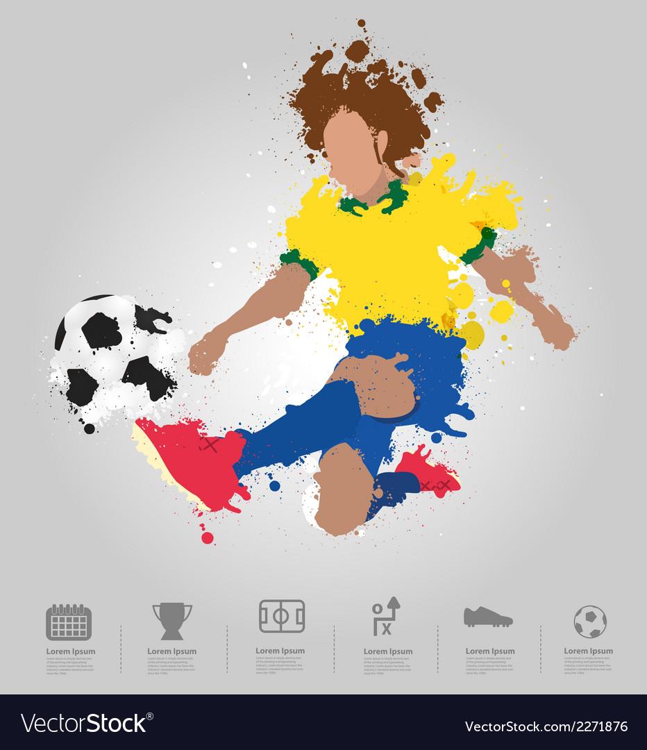 Soccer player kicks the ball with paint splatter vector