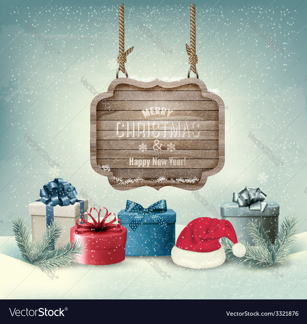 Winter background with gift boxes and a wooden vector